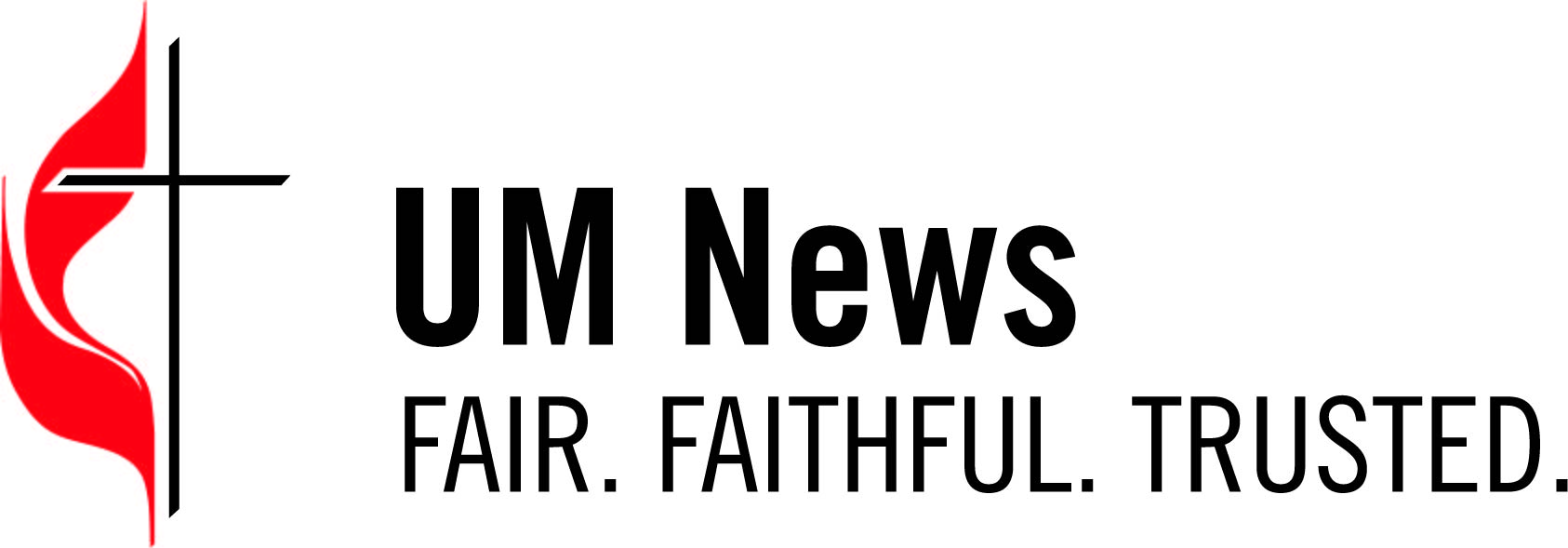 2018 revised logo for the UM News. File type is JPEG. Black type and cross, red flame on white background. Designed by Troy Dossett